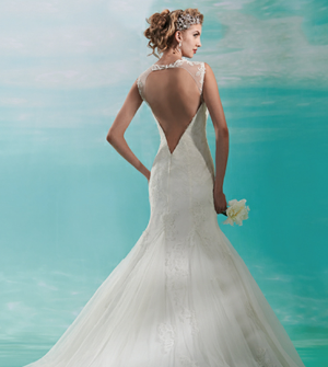 Wedding Dress with Plunging Back